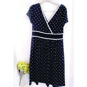 🔮 Sandra Darren Black White Polka Dot Dress